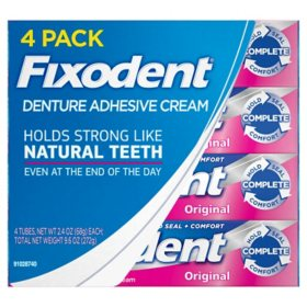 Fixodent Denture Adhesive Cream, Original (2.4 oz., 4 pk.)