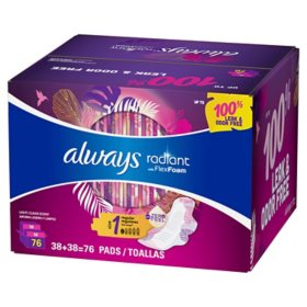Always Radiant Pads, Size 1, Regular Absorbency, Scented (76 ct.)