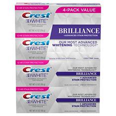 Crest 3D White Brilliance Toothpaste, Vibrant Peppermint (4.1 oz., 4 pk.)