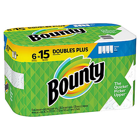Bounty Select-A-Size Paper Towels, White, 6 Double Plus Rolls = 15 Regular Rolls