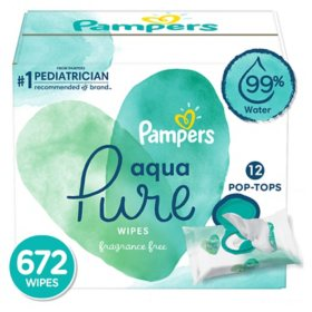 Pampers Aqua Pure Baby Wipes 12X Pop-Top (672 ct.)