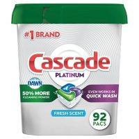 Deals on 92 ct.Cascade Platinum ActionPacs Dishwasher Detergent
