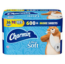 Charmin Ultra Soft Toilet Paper (36 Super Roll, Bath Tissue, 208 Sheets per Roll)