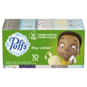 Puffs Plus Lotion Facial Tissues (132 tissues per box, 10 family boxes)