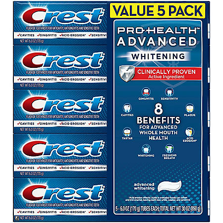 Crest Pro-Health Advanced Whitening Power Toothpaste (6 oz., 5 ct)