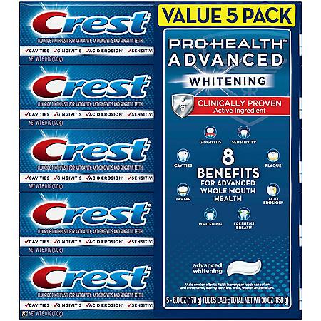 Crest Pro-Health Advanced Whitening Fluoride Toothpaste (6 oz., 5 pk.)