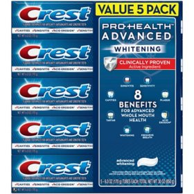Crest Pro-Health Advanced Whitening Fluoride Toothpaste (6 oz., 5 pk.)