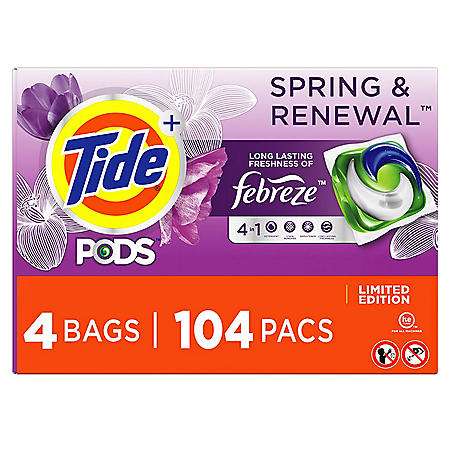 Tide PODS + Febreze Liquid Laundry Detergent Pacs, Spring & Renewal (104 ct.)