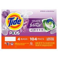 Tide PODS + Febreze Liquid Laundry Detergent Pacs, Spring & Renewal (104 ct.)