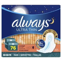 Always Ultra Thin Overnight Pads with Wings (76 ct.)