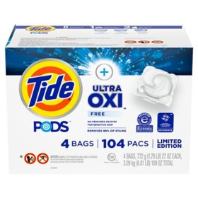 Tide PODS Plus Ultra Oxi Free Liquid Laundry Detergent Pacs (104 ct.)