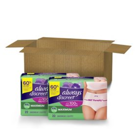 Always Discreet, Incontinence Underwear for Women, Maximum, Various Sizes