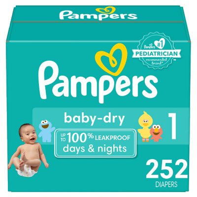 Pampers 12 Hr Baby Dry Disposable Baby Diapers 1,2,3,4,5,6 Choose Your Size New