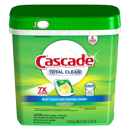 Cascade Total Clean ActionPacs Dishwasher Detergent (Fresh, 105 ct.)