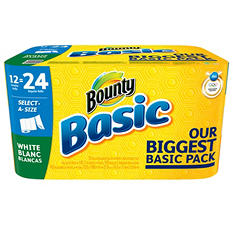 Bounty Basic Select-A-Size Paper Towels, White (12 Double Rolls)