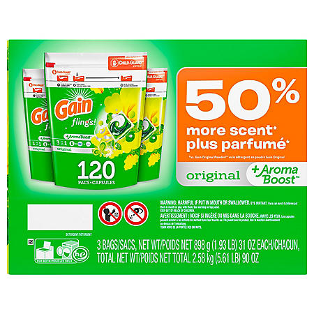 Gain flings! +AromaBoost Laundry Detergent Pacs (Original, 3 bags, 40 loads each, 120 loads total)