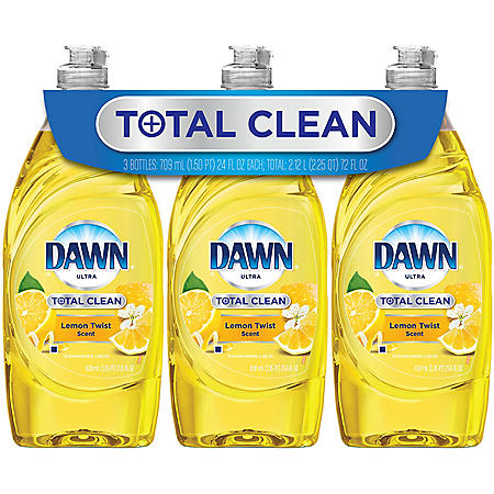 Dawn Total Clean Refreshing Lemon Twist Dish Soap 3x24oz