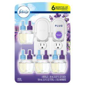 Febreze Plug Air Freshener, 2 Oil Warmers + 4 Scented Oil Refills (Choose Your Scent)
