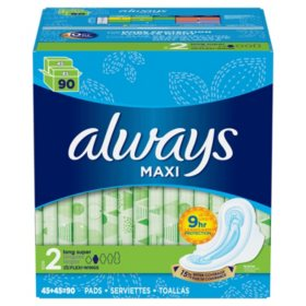 Always Maxi, Size 2, Super Pads With Wings, Unscented (90 ct.)