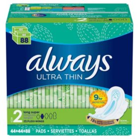 Always Ultra Thin, Size 2, Long Super Pads With Wings, Unscented (88 ct.)