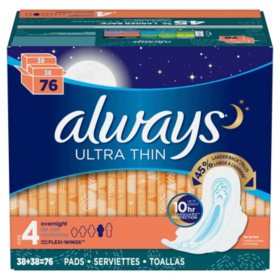 Always Ultra Thin, Size 4, Overnight Pads With Wings, Unscented (76 ct.)