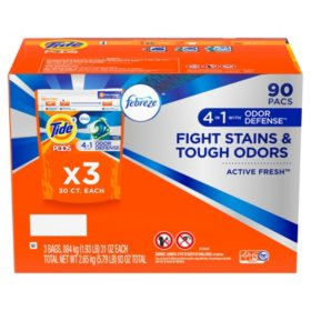 Tide PODS Plus Febreze Odor Defense Laundry Detergent (90 Loads)