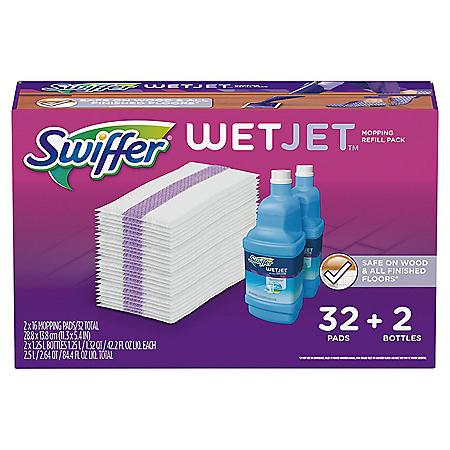 Swiffer Wetjet Mopping Refill Pack (32 Refill Pads plus 2 Bottles of Cleaner 1.25 L ea.)