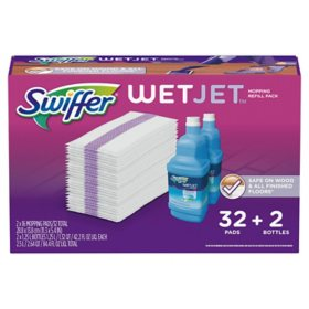 Swiffer Wetjet Mopping Refill Pack (32 Refill Pads plus 2 Bottles of Cleaner 1.25L ea.)