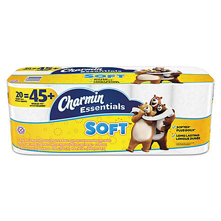 "Charmin Essentials Soft Bathroom Tissue, Septic Safe, 2-Ply, White, 4"" x 3.92"" (20 rolls)"