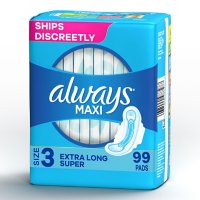 Always Maxi My Fit Extra Long Super Pads With Wings, Unscented, Size 3 (99 ct.)