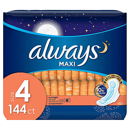 Always Maxi Pads Size 4 Overnight Absorbency Unscented with Wings (144 ct.)