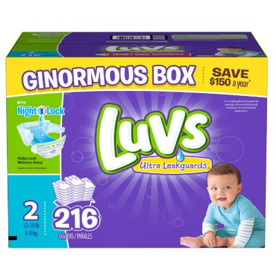 Luvs Ultra Leakguards Diapers, Size 2 (216 ct.)