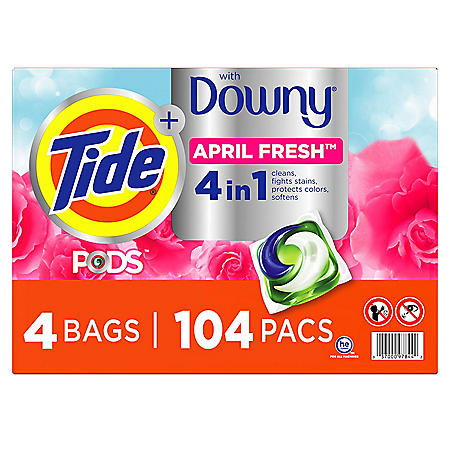 Tide PODS with a Touch of Downy, Liquid Laundry Detergent Pacs, April Fresh, 104 Count
