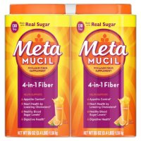 Metamucil Fiber, 4-in-1 Psyllium Fiber Supplement Powder with Real Sugar, Orange Smooth Flavored Drink, 260 Servings
