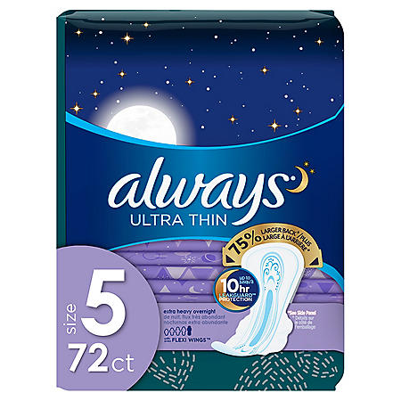 Always My Fit Ultra Thin Size 5 Extra Heavy Overnight Pads With Wings Unscented, (72 ct.)