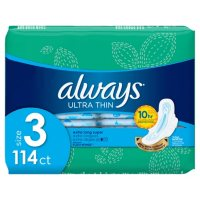 Always My Fit Ultra Thin Size 3 Extra Long Super Pads With Wings Unscented (114 ct.)