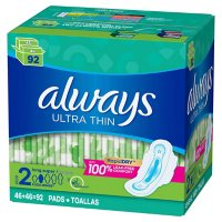 Always Ultra Thin Pads Size 2 Super Long Absorbency Unscented with Wings (92 ct.)
