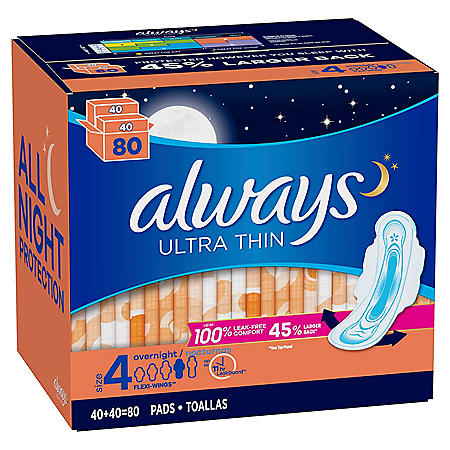 Always Ultra Thin Size 4 Overnight Pads With Wings Unscented (80 ct.)