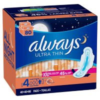 Always Ultra Thin Size 4 Overnight Pads With Wings, Unscented (80 ct.)