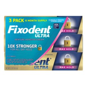 Fixodent Ultra Max Hold Dental Adhesive (2.2 oz. 3 pk.)