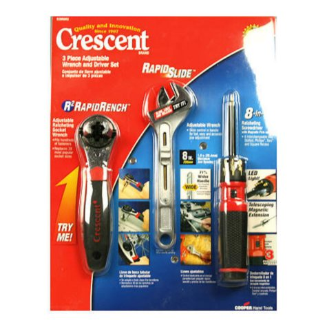 Crescent 3 Piece Adjustable Wrench & Driver Set