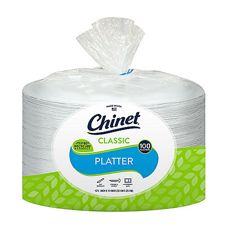 "Chinet Classic White 12-5/8 x 10"" Platters (100 ct.)"