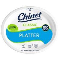 "Chinet Classic White 12-5/8 x 10"" Platters (100 ct.)"