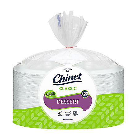 """Chinet Classic White 6.75"""" Appetizer and Dessert Plates (300 ct.)"""