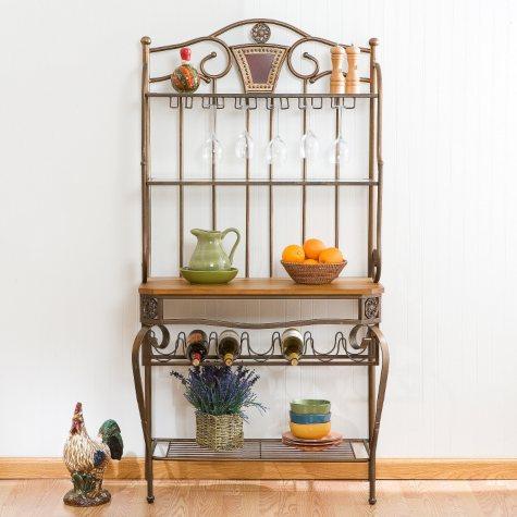 Decorative Baker's Rack w/ Wine Storage