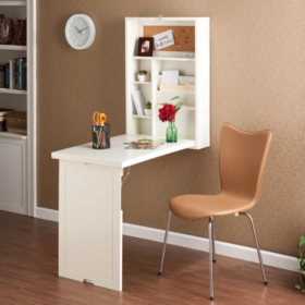 Craft Room Wall Mount Desk, White Finish