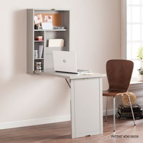 Orsior Fold-Out Convertible Wall Mount Desk - Gray