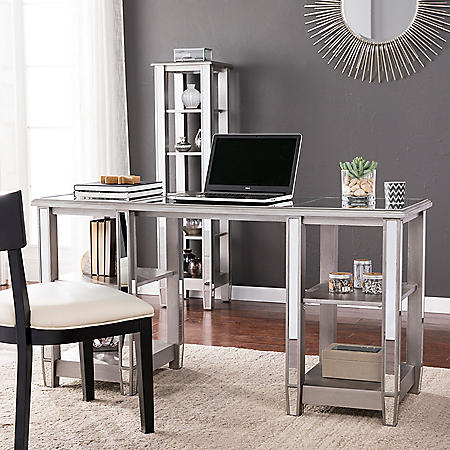 Telsgess Mirrored Desk - Glam Style - Brushed Matte Silver w/ Mirror