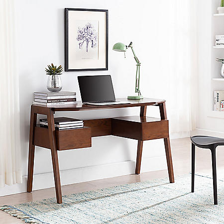Holwna Mid-Century Modern Writing Desk with Storage