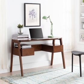 Holwna Mid-Century Modern Writing Desk with Storage